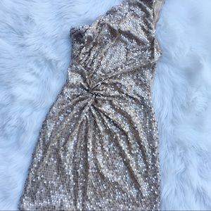 New Year gold sequin one shoulder dress